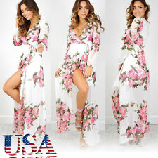 US Women Boho Floral Chiffon Long Sleeved Maxi Party Beach Dress Sundress L