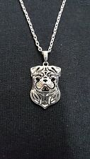 Pug Dog Really Cute Necklace, Pendant 18""