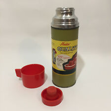 Vintage 50s Aladdin Thermos never used 2 tone green / blue red cap with label