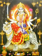 Goddess Durga on her Vehicle poster-reprint on paper-(20X16 inches) #6900
