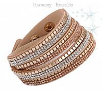 Tan Swarovski Elements Wrap Glitz Bracelet by Harmony Bracelets