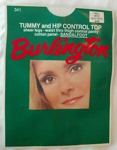 Burlington size small white Tummy and Hip control sandalfoot panyhose  341 USA