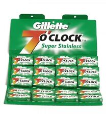 100 Gillette 7 O'Clock Super Stainless Double Edge Blades (Green Pack)