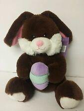 """9"""" 2016 Brown Easter Bunny Rabbit With An Egg Stuffed Plush Animal"""