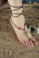 Stones on Braided Wraparound Twine Seashell & Beads Barefoot Sandal Colored