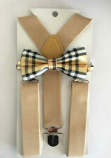 Elastic Tan Suspender and Bow Tie Sets for Boys Girls Kids - Ship from US