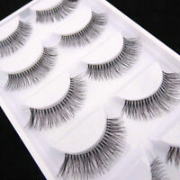 False Eyelashes Set Natural Long Sparse Cross Fake Eye Lashes Extension 5 Pairs
