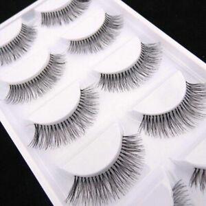 False Eyelashes Set Natural Long Sparse Cross Fake Eye Lashes Extension 5 Pairs