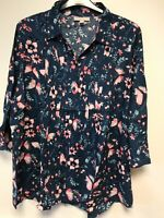 Woman Within ladies blouse shirt top plus size 16/18 20/22 28/30 blue floral