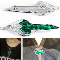 Retro Showy Lord of The Rings Green Leaf Pin Brooch Pendant Wild Chain Necklace