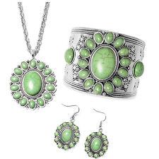 Silvertone Green Howlite Earrings Pendant Necklace Jewelry Set Stainless Steel