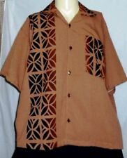 Polynesian Style/Tapa Brown Shirt/ Pacific Islands/Samoa/Tonga.Fiji Cook Is