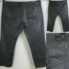 Guess Premium Men's Jeans Lincoln Slim Straight Size 38 Gray Coated Waxed 38X28