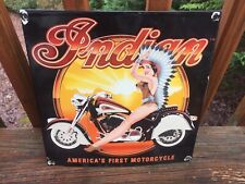"Vintage Indian Motorcycle Heavy Porcelain Sign Gas & Oil 11.5""x 11.5"""