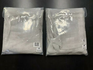 Pair of Restoration Hardware Italian Linen Mesh Sheer Curtains 84x50 Mist Gray