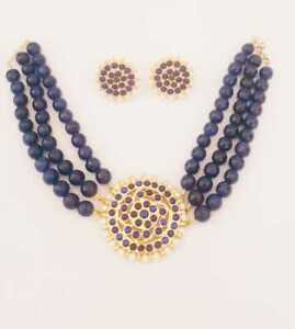 Necklace Set HANDMADE JEWELLERY Blue Stone Gold Plated Earrings for Women