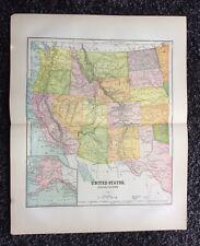 Vintage Original Map 1897 Western United States, Eaton & Mains
