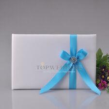 White Bridal Wedding Guest Book Rhinestone Aqua Blue Bowknot Sign in Guestbook