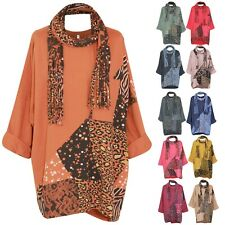 Ladies Scarf top Italian Women lagenlook leopard Printed Winter stylish Tunic
