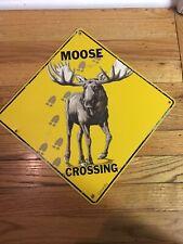 Metal Moose Crossing Tin Sign