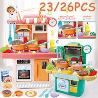 26PCS Pretend Play Toy Cooking Set Kitchen Playset Girls Gift