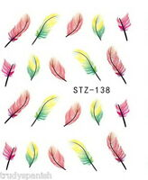 Nail Art Water Decals Transfers Stickers Rainbow Pink Feathers Gel Polish (138)
