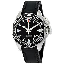 Hamilton Khaki Navy Frogman Black Rubber Strap Automatic Mens Watch H77605335