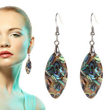 1 Pair Vintage Drop Shape Abalone Shell Earrings Oval Mother-of-pearl 34x18mm H