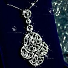 18K WHITE GOLD MADE WITH SWAROVSKI CZ FILIGREE PENDANT NECKLACE LUXURY