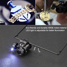 Watch Repair Single Lens Eye Glasses LED Light 20x Magnifier Jeweler Tool