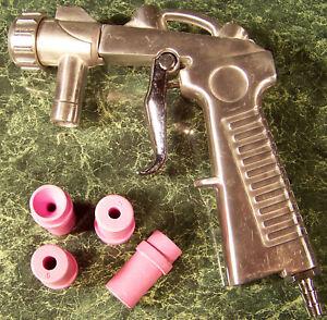 Replacement Siphon Feed SANDBLASTER GUN with 4 Ceramic TIPS Sand blast Cabinet