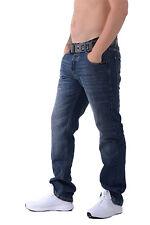 Crosshatch WAK DESIGNER Mens Denim Jeans Straight Leg Trousers With Webbed Belt 32 Inch Waist 34 Long Leg Dark Wash