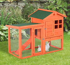 "48"" Wooden Rabbit House Hutch Chicken Coop Bunny Small Animal Cage w/ Tray Run"