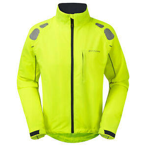 Ettore Mens Cycling Jacket Waterproof Breathable High Vis Yellow - Night Eagle