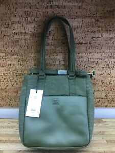 Herschel Supply Co Orion Tote Small  Ivy Green Leather  New PP-2