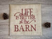 Custom burlap Life is better at the barn, barn red (custom color) pillow cover