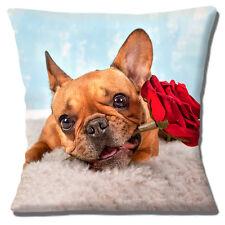 """Grazioso CERBIATTO Bulldog Francese Rosa Rossa Foto Stampa Design 16"""" CUSCINO COVER"""