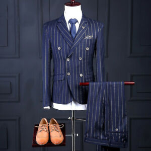 Men's Striped Slim fit 3 Piece Suits Double Breasted Blazer Business Formal Chic