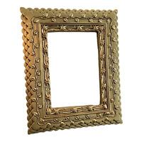 "Ornate Gold Tone Layered Scalloped Embossed Leaf 4""x6"" Photo Frame"