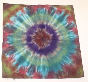 """Tie Dye Bandana 21"""" x 21"""" Purple Iris Bloom 100% cotton"""