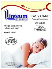2-PACK STD/QUEEN ZIPPERED PILLOW PROTECTORS PILLOW COVER 20x28 in. COTTON T-200