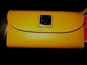 Dooney & Bourke Mustard Continental Wallet/Clutch Snap Closure WBECN0507 NWT