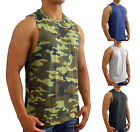 NEW MENS PLAIN MUSCLE TANK SINGLET RAW EDGE SLEEVELESS TOP BODYBUILDING GYM CAMO