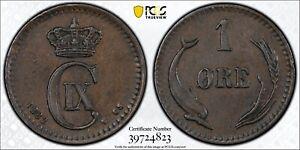 1882 CS Denmark Ore PCGS AU58 Bronze Registry Coin KM 792.1