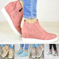 Hot Women's Breathable Wedge Shoes High Top Sports Shoes Fashion Zipper Sneakers