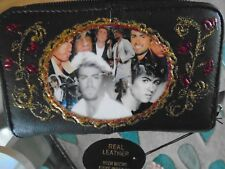 NEW GEORGE MICHAEL   PICTURE  BLACK LEATHER  PURSE/WALLET