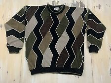 PRONTO UOMO: Vtg 90s Textured Brown Black Acrylic Dad Hip Hop Sweater Mens LARGE