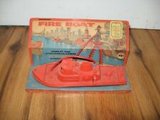 Vtg Antique Knickerbocker Fire Boat Plastic Bath Tub Toy Rare Original Package
