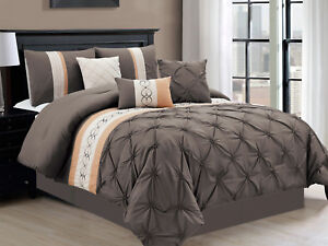 11-Pc Heart Spade Ruffled Ruched Comforter Curtain Set King Gray Beige Coffee