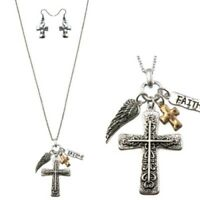 FAITH Cross Necklace with Angel Wing Charm & Cross Earrings Western Set